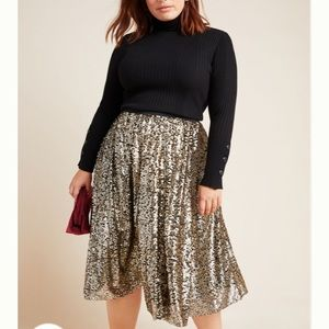 Anthropologie Maeve Orleans Sequined Midi Skirt